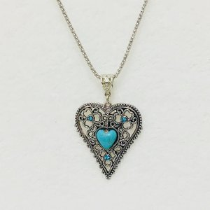 Necklace Heart Turqiose Silver