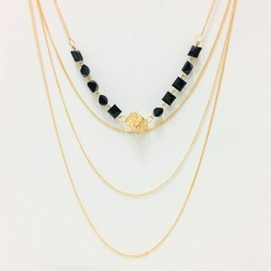 Necklace Multi Layher Gold & Black Squares