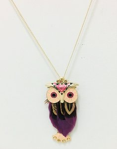 Necklace Purper Gold Owl